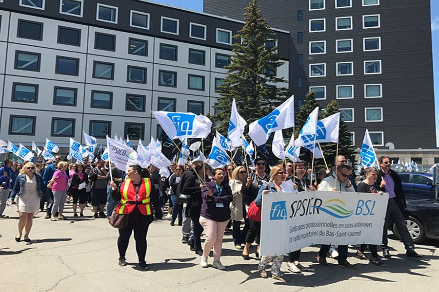 Demonstration to denounce the respiratory therapists' difficult working conditions